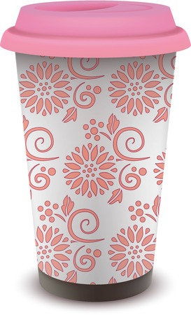 cup of coffee with pink floral patterns design
