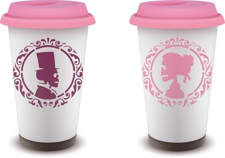 cup of coffee with female and male skull character design
