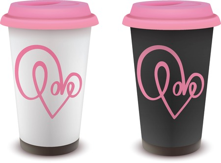 black and white cup of coffee with pink lid