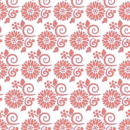 Orange flowers seamless pattern over white background