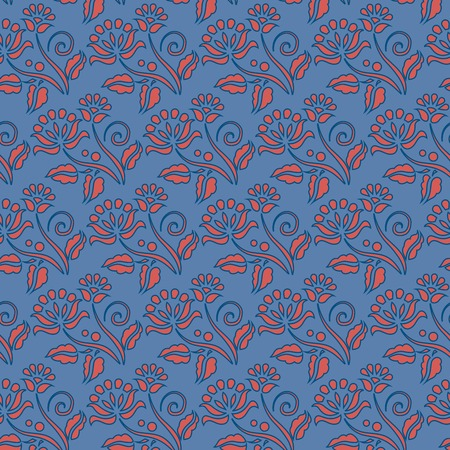 Orange flowers seamless pattern over blue background