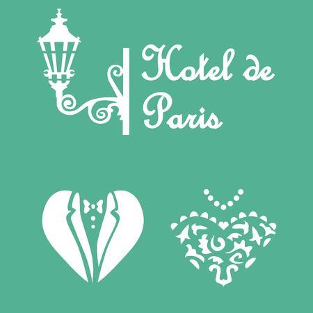 Hotel de Paris stencil postcard design