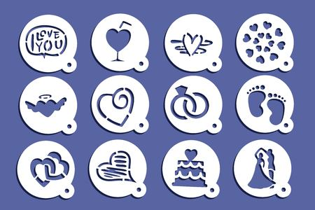 Coffee stencils icon in blue circle illustration on blue background.