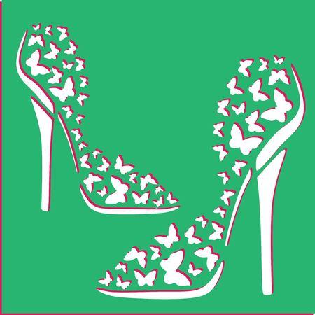 womens shoes stencil Ilustração