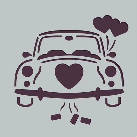 Wedding car stencil Banco de Imagens - 95776510
