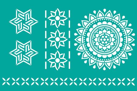 Indian ornament stencil art on green background. vector illustration.