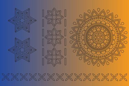 Indian ornament stencil art on color background. vector illustration.