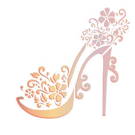 Floral shoes stencil art Banco de Imagens - 95965178