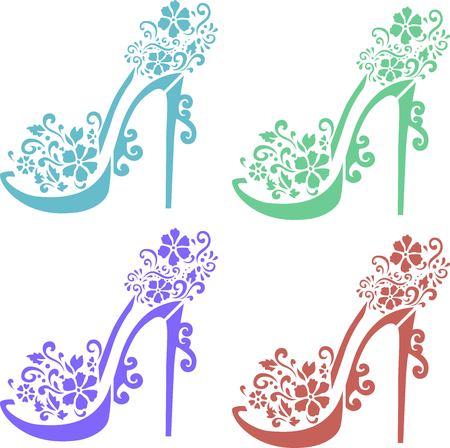 Floral shoes stencil art