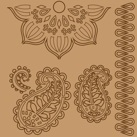 Indian ornament stencils Banco de Imagens - 99598822