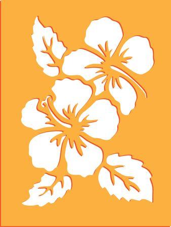 花のステンシルアート  イラスト・ベクター素材