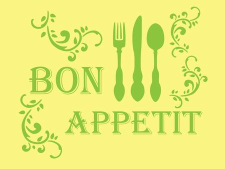 Bon appetit stencil Ilustração