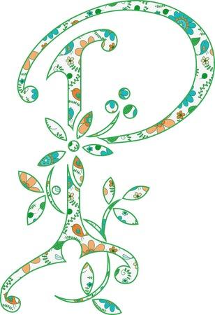 Flower pattern letter P Vector illustration.
