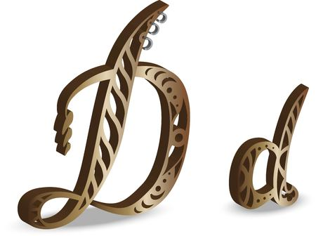 steampunk letter D Vector illustration.