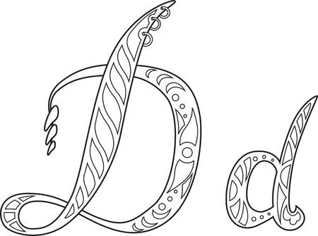 steampunk letter D Vector illustration.