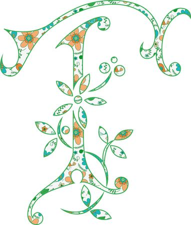 Flower pattern letter T Vector illustration. Banco de Imagens - 99942200