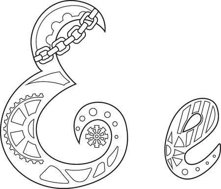 steampunk letter E Vector illustration.