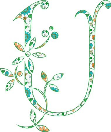 Flower pattern letter U Vector illustration. Banco de Imagens - 99942201