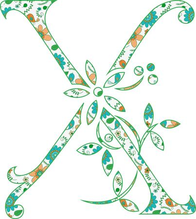 Flower pattern letter X Vector illustration. Banco de Imagens - 99942204