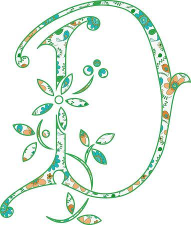 Flower pattern letter D Vector illustration.