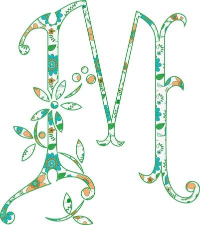 Flower pattern letter M Vector illustration. Ilustração