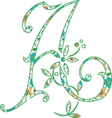 Flower pattern letter A Vector illustration. Ilustração