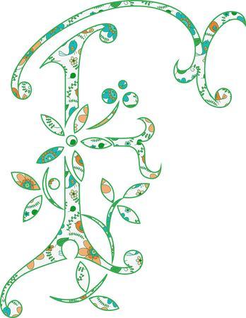 Flower pattern letter F Vector illustration.