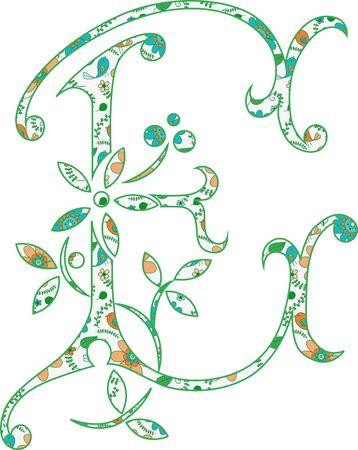 Flower pattern letter E Vector illustration. Ilustração