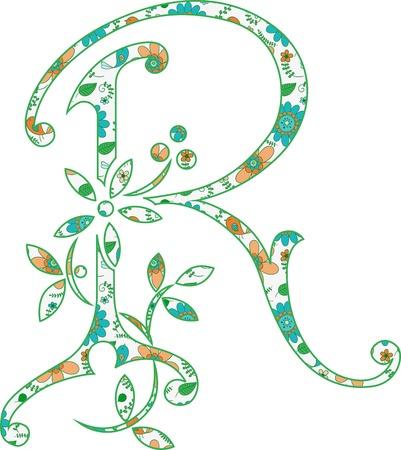 Flower pattern letter R Vector illustration. Ilustração
