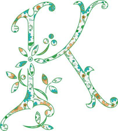 Flower pattern letter K  Vector illustration.