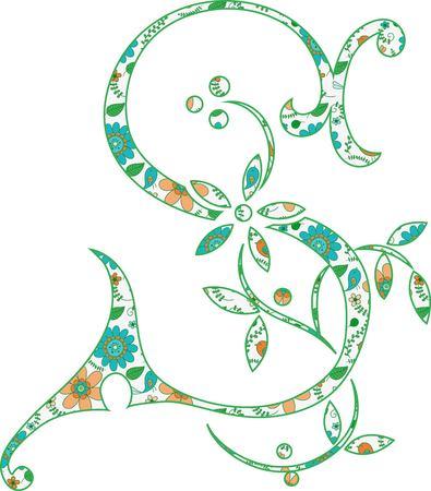 Flower pattern letter S Vector illustration. Banco de Imagens - 99942325