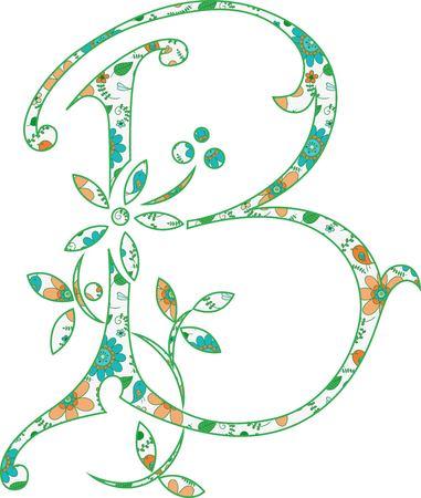 Flower pattern letter B Vector illustration.
