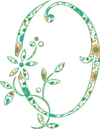 Flower pattern letter O Vector illustration.