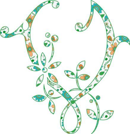 Flower pattern letter V Vector illustration.