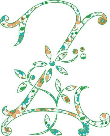 Flower pattern letter Z Vector illustration. Ilustração