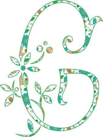 Flower pattern letter G Vector illustration. Ilustração
