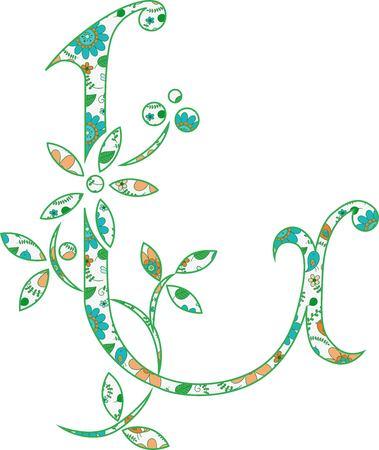 Flower pattern letter L Vector illustration.