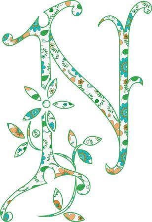 Flower pattern letter N Vector illustration.