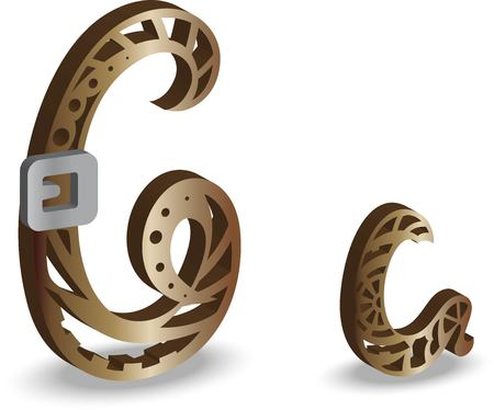 steampunk letter C. Vector illustration isolated on white background.