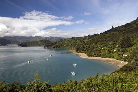 sounds: Portage Bay, Marlborough Sounds, South Island, New Zealand  Queen Charlotte Track  Tasman Sea  Stock Photo