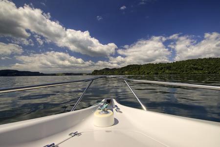 lake front: Front of speed boat on lake Rotorua New Zealand