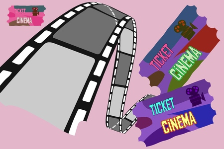Vector illustration for the film industry. Elements of the film industry. realistic detailed hand drawn vector illustration Vettoriali
