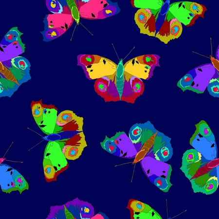 Illustration of colorful butterflies on a nice color background.