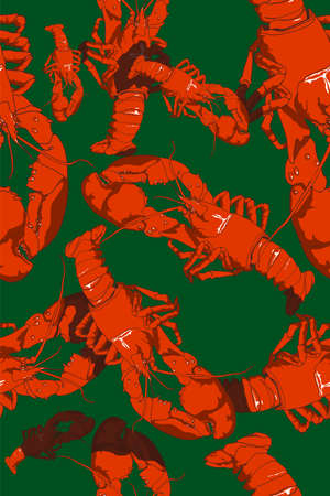 Colorful seamless composition of hand-drawn lobster.Vector illustration.