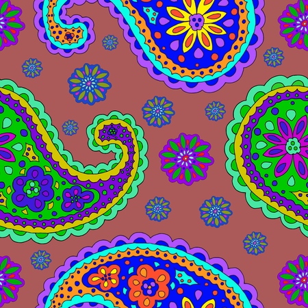 Bright hand-drawn ornament with unusual patterns in cartoon style.The pattern creates a vortex, depth. Modern style for textiles, printing.
