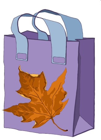 Hand drawn paper colorful gift bag with illustration. The image pleases the eye and gives a festive packaging.