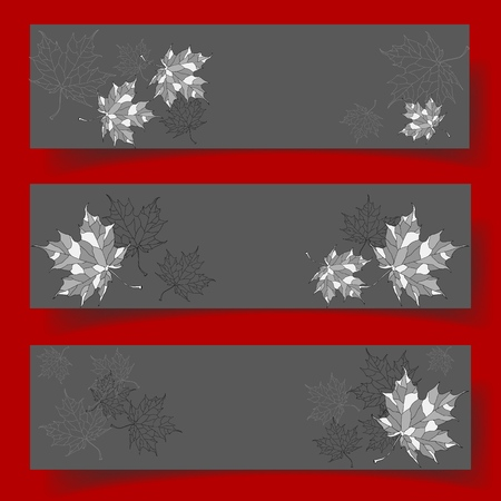 Set of three banners with beautiful hand-drawn leaves. Vector illustration. 向量圖像