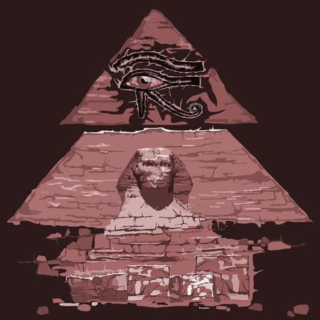 Eye of the Ra and the Sphinx among the pyramids. illustration. Ilustracje wektorowe