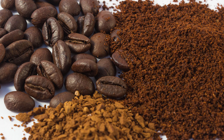 stimulate: Various forms of delicious and fragrant coffee. Stock Photo