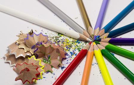 wood shavings: Colored pencils and wood shavings
